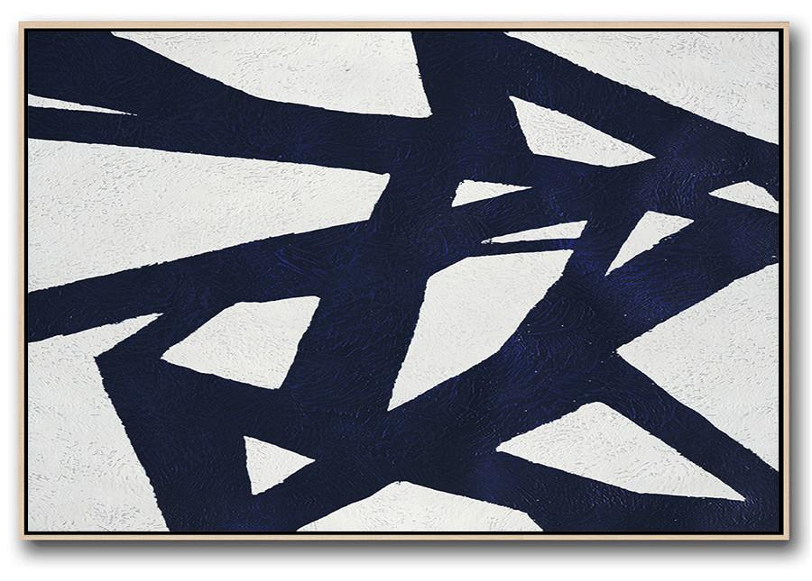 Art Work,Horizontal Abstract Painting Navy Blue Minimalist Painting On Canvas,Large Paintings For Living Room